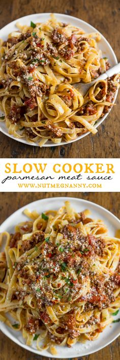 Slow cooker Parmesan meat sauce is slow cooked & full of flavor. Perfectly seasoned and goes great over fresh pasta. It can be easily frozen so you can have fresh sauce any day of the year! Crock Pot Slow Cooker, Crock Pot Cooking, Slow Cooker Recipes, Beef Recipes, Cooking Recipes, Crock Pots, Slow Cooker Pasta, Advocare Recipes, Recipies