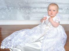 Stunning White Lace Christening Gown Baptism 0 3 by Caremour
