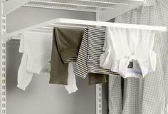 Elfa drying rack for laundry room. Laundry Room Drying Rack, Laundry Room Art, Drying Rack Laundry, Laundry Dryer, Clothes Drying Racks, Laundry Room Storage, Laundry Room Design, Basement Laundry, Wooden Drying Rack