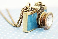 Vintage Blue Camera Necklace