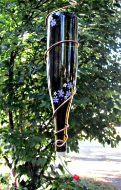 recycled gardening | Hummingbird Feeder Wine Bottle Recycled Garden by GlassGaloreGal