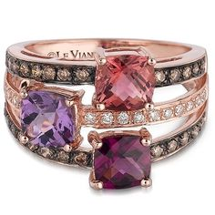 Chocolate diamonds by Levian with rhodolite and morganite in rose gold. Barron's Fine Jewelry carries a large variety of Levian products including watches, rings and pendant and earring sets. Levian is known for their high quality chocolate and vanilla diamonds and delectable vanilla, and strawberry gold. Come visit us today and get ready to whet your appetite for fine jewelry!