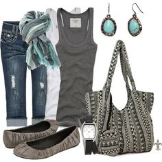 grey, turquoise and denim can do with out the bag!