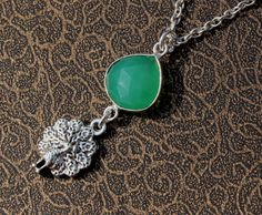 Chrysoprace Chalcedony Peacock Charm Necklace by gemsnjewelryworld