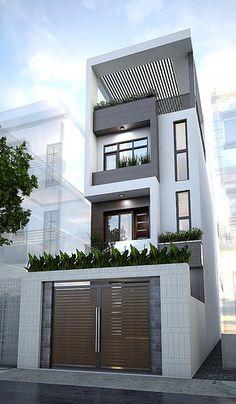 Street & house (Mr Hien) Quang Ninh Date Design: Duplex House Design, Townhouse Designs, House Front Design, Small House Design, Modern House Design, Narrow House Designs, Narrow House Plans, Casas Containers, House Elevation