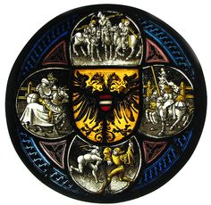Quatrefoil Roundel with Arms and Secular Scenes Date: 1490–1500 Geography: Made in Nuremberg, Germany Culture: German