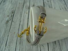 Armbänder - Lässiges Anker - Armband grau / gold maritim - ein Designerstück von buntezeiten bei DaWanda