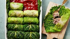 Savoy cabbage leaves are filled with a flavorful mixture of ground lamb, brown rice, pine nuts, dried currants, and fresh herbs, then neatly folded into rolls and baked in a sweet-and-sour tomato sauce until tender and fragrant.