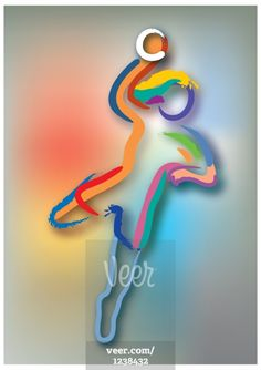 Colorful outline of handball player in action Stock-Illustrationen