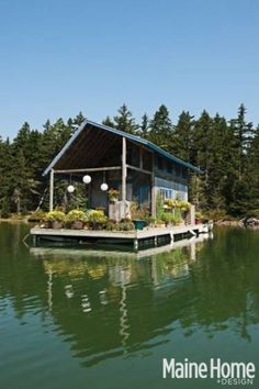 "Tour This Floating Cabin in Maine - Foy and Louisa Brown's floating hand-built cottage was supposed to be a getaway for other people, a rental to net extra funds. [But] once the house was finished, he and Louisa didn't want to share. ""I thought I'd have to fight Louisa to go out on it,"" Foy says, ""but it's a fight to get her to come off."""