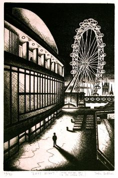 Lost Night (Royal Festival Hall and The London Eye) - John Duffin Festival Hall, Etching Prints, Art Prints Online, Chiaroscuro, Modern Artists, London Art, Wood Engraving, Gravure, Print Artist