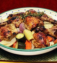 Mustard Chicken with Summer Vegetables:    Roasting is a terrific way to prepare many vegetables, because it intensifies flavors and brings out a natural sweetness. Fennel, summer squash, carrots and new potatoes are rich in fiber and a variety of healthful phytochemicals. The stone ground mustard sauce locks bold flavor into the chicken.