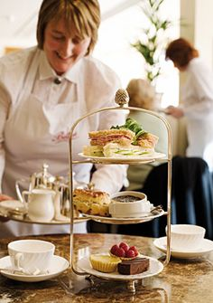 being served afternoon tea at bettys