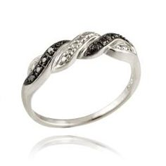 @Overstock - Black diamond corrugated design fashion ringSterling silver jewelryClick here for ring sizing guidehttp://www.overstock.com/Jewelry-Watches/Sterling-Silver-Black-Diamond-Accent-Braided-Ring/6356746/product.html?CID=214117 $24.49