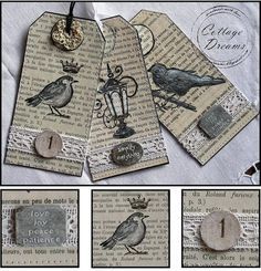 Cottage Dreams: Bird Tags and Little Keys Old Book Crafts, Book Page Crafts, Paper Tags, Diy Paper, Paper Crafts, Vintage Tags, Card Tags, Gift Tags, Diy Pour Enfants