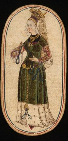 Queen (1), from the Cloisters set of fifty-two playing cards, ca. 1470–1485, South Netherlandish.