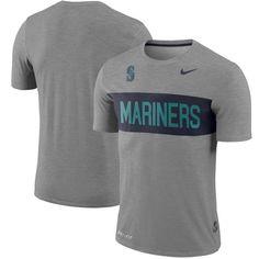 Men's Seattle Mariners Nike Gray Slub Stripe Performance T-Shirt