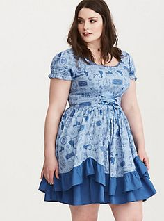 ac0bf36bf2c Disney Beauty and the Beast Icon Print Pick Up Swing Dress
