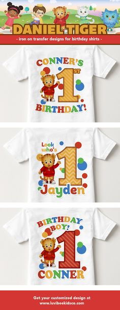 Daniel Tiger Birthday shirt : Aren't they adorable! Get yours now in time for your child's next #danieltiger birthday! by LKco