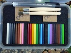 Seccorell Shading Sticks - Set of 24; a set of color sticks, a grit block and a brush....I WANT these!