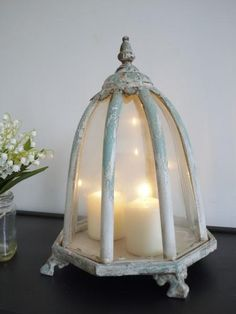 French Style Shabby Chic Distressed Parisian Dome Lantern Candle T Light Holder Shabby Chic Display Cabinet, Shabby Chic Dressing Table, Shabby Chic Chairs, Shabby Chic Antiques, Shabby Chic Dining, Black Shabby Chic, Vintage Shabby Chic, Candle Lanterns, Candles