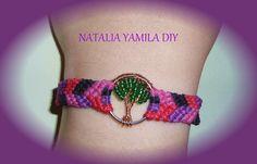 Pulsera brazalete artesanal arbol de la vida . Ver tutorial . handmade bracelet hemp tree of life