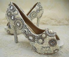 Wedding Shoes Peeptoes Bridal Shoes Pearl by SharinaWedding