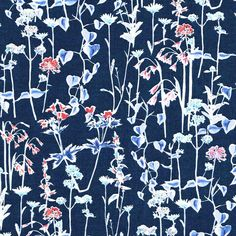 Liberty Tana Lawn Fabric Spring Silhouette C Fat Quarter SS16 Navy Watercolour Floral