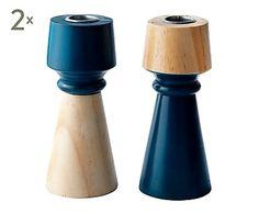 Set de 4 candeleros en madera Alice, azul - altura 15,5 cm