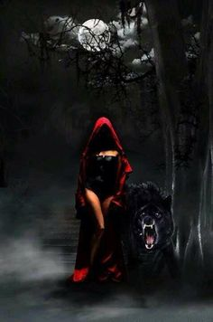 Spooky version of Little Red Riding Hood.