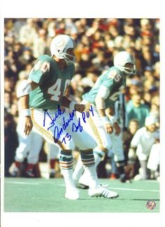 """Autographed Dick Anderson Miami Dolphins 8x10 Inscribed """"""""73 Def POY"""""""" (Player of the Year)"""