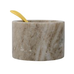 *Arriving early February, you can pre-order this item below.  Salt is better served not shaken! Grey marble salt dish with accompanying  gold brass spoon by leading Danish interiors brand Bloomingville.  Dimensions  Circumference 8 cm,Height 5.5 cm  See more items from Bloomingville.