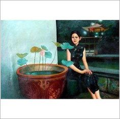 Original Oil On Canvas 'Girl with Water Lilies' on eBid United Kingdom Water Lilies, Oil On Canvas, United Kingdom, Auction, Lily, Hand Painted, The Originals, Gallery, Board