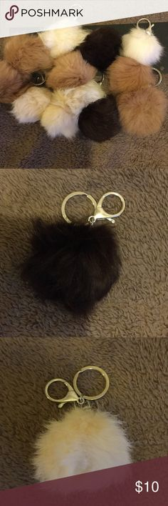 Small Furry Pompom Fur Ball Keychain Bag Charm New Arrival Accessories Key & Card Holders