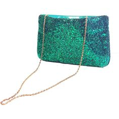 70s Green Chunky Glitter Purse Glam Disco Clutch with Gold Chain (21) found on Polyvore