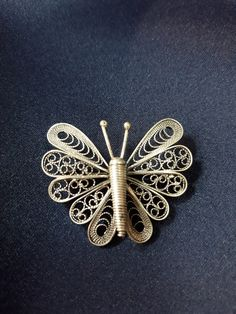 Excited to share the latest addition to my #etsy shop: Handmade Macedonian Silver Filigree Butterfly Brooch https://etsy.me/2G4Ca41 #jewelry #brooch #silver #anniversary #valentinesday #women #butterfly #handmade #filigree