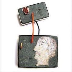 FABRIZIO TRIDENTI-IT Brooch- F. Guelfi 2007 (via Klimt02)  Plastic, oxidized silver, paper, electric wire