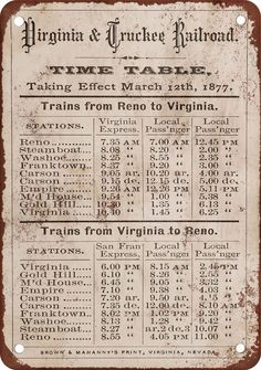 "7"" x 10"" Metal Sign - 1877 Virginia & Truckee RR Time Table - Vintage Look Repro"