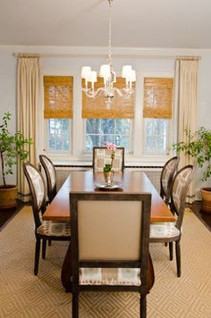 Powell Residence Dining Room - eclectic - dining room - new york - Mantra Banding at the bottom of drapery adds interest.