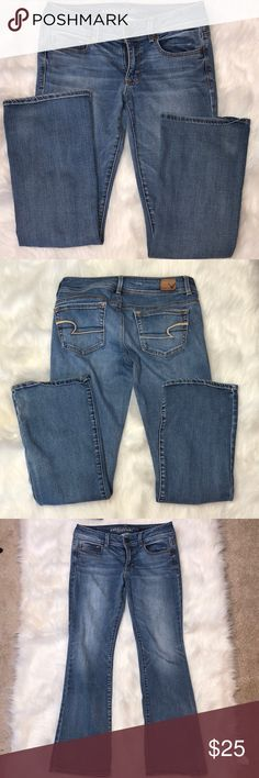 American Eagle Kick Boot Jean Size 6 Short Description: Super cute.  ⚠️I always look through each item throughly once received and right before shipping, but things can be missed. Just let me know, so I can improve.⚠️  🚫NO TRADES/NO HOLDS🚫  Please ask questions❓  💜Thank you for checking out my closet and don't be afraid to submit an offer💜 American Eagle Outfitters Jeans