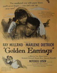 1940s VINTAGE MOVIE POSTER Advertisement RAY MILLAND MARLENE DIETRICH Golden Earrings