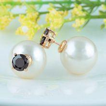 Double Pearl 6 MM Round Cubic Zirconia Stud Earring Elegant Italina Gold Crystal Fashion Cute Girls Women Studs Earrings(China (Mainland))