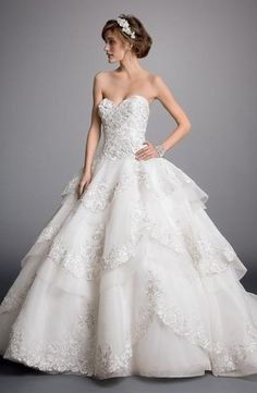 Sweetheart Princess/Ball Gown Wedding Dress  with Dropped Waist in Beaded Lace. Bridal Gown Style Number:32860686
