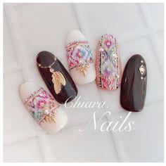 Gem Nails, Hair And Nails, Gel Nail Art, Nail Manicure, Cute Nails, Pretty Nails, Western Nail Art, Bohemian Nails, Watermelon Nails