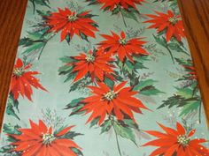 VINTAGE CHRISTMAS WRAPPING PAPER  UNUSED GIFT WRAP MCM AQUAMARINE RED POINSETTIA in Collectibles, Holiday & Seasonal, Christmas: Modern (1946-90), Other Modern Christmas | eBay