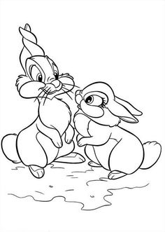 Disney Bambi Thumper Bunny Cartoon Rest Coloring Page in ...