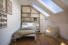 Loft conversion, Loft, Bedroom ideas, Pitched roof, Furniture ideas, Interior ideas, Bedroom furniture, Extensions, Conversions, bookcase, side return extension, wooden flooring, beanbag