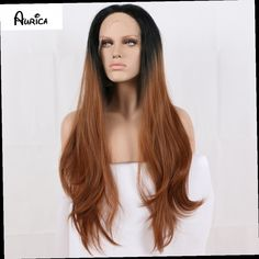 49.90$  Buy now - http://ali2b7.worldwells.pw/go.php?t=32562599153 - Fashion Ombre Brown Long Bodywave Synthetic Lace Front Wig Fulll Glueless Natural Black/Brown Heat Resistant Hair Women Wig 49.90$