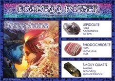 Goddess Power: Persephone - Stones: Lepidolite, Rhodochrosite and Smoky Quartz