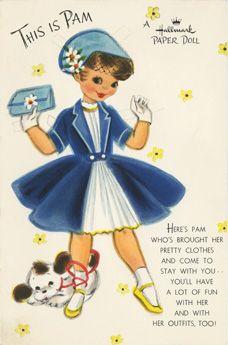 Pam paper doll card; Hallmark, 50s